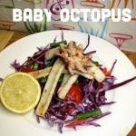 Grilled Squid and Baby Octopus on Purple Cabbage Salad with Lemon