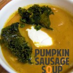 Pumpkin Sausage Soup with Crispy Kale
